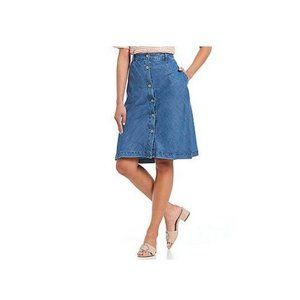 a loves a Chambray Jean Midi Skirt Button Front M